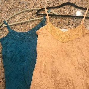 Pair of Crinkled Lace Cami Tops